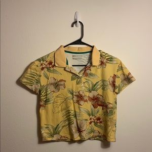 Urban Outfitters Cropped Floral Aloha Polo